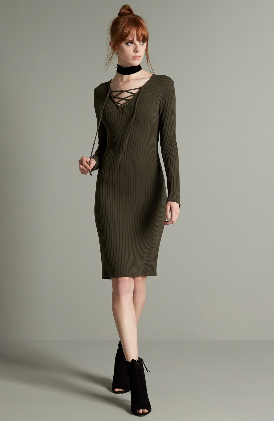 Alternate Image 2  - One Clothing Lace-Up Neck Ribbed Body-Con Dress