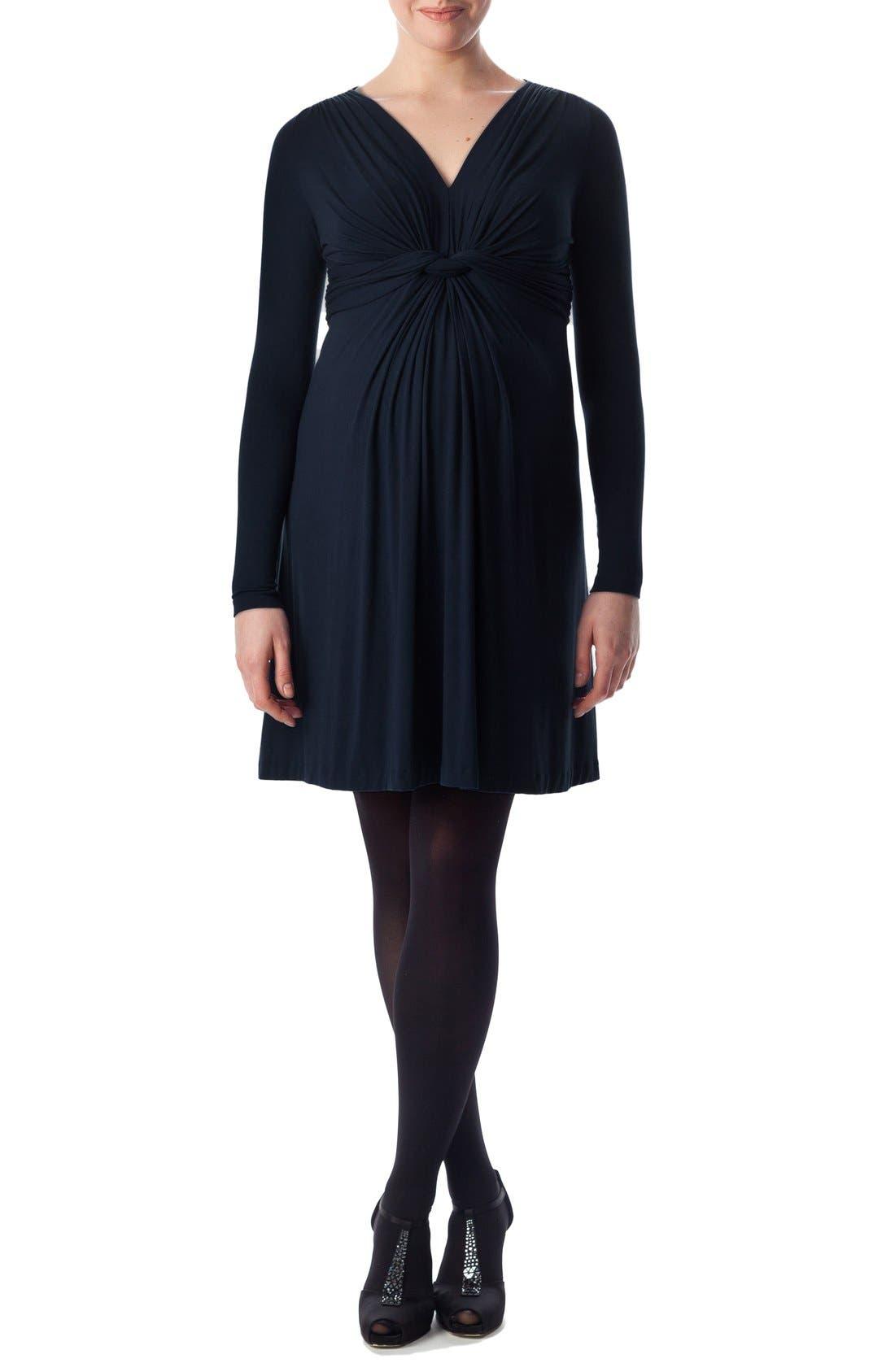 'Madonna' Twist Detail Jersey Maternity Dress,                         Main,                         color, Dress Blues