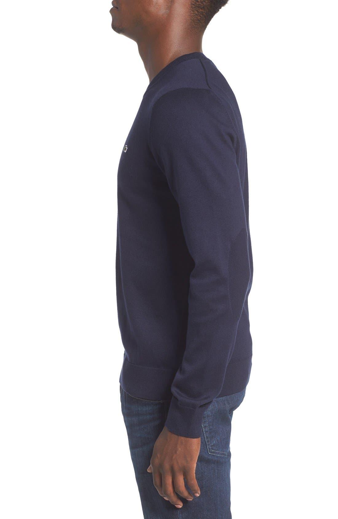 Jersey Knit Crewneck Sweater,                             Alternate thumbnail 3, color,                             Navy Blue