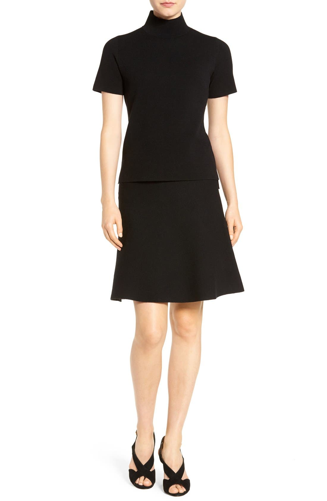 Alternate Image 2  - Halogen® Knit Skater Skirt (Regular & Petite)