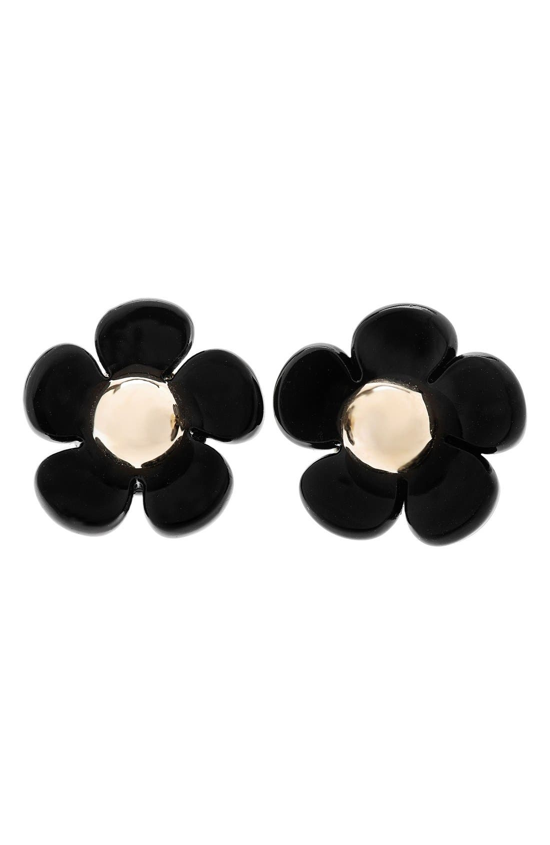 Floral Stud Earrings,                         Main,                         color, Black/ Gold