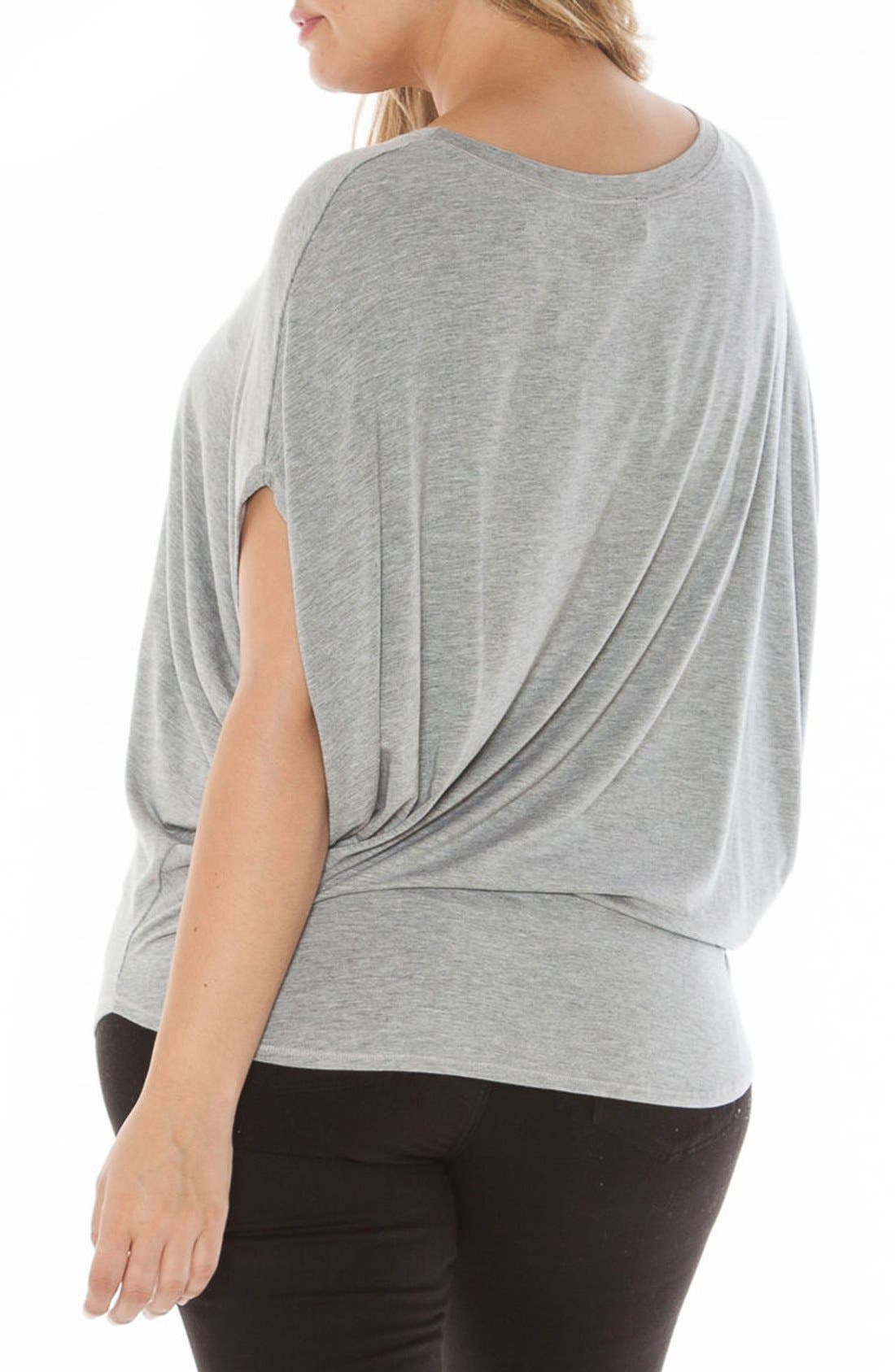Drape Side Jersey Tee,                             Alternate thumbnail 2, color,                             Heather Grey