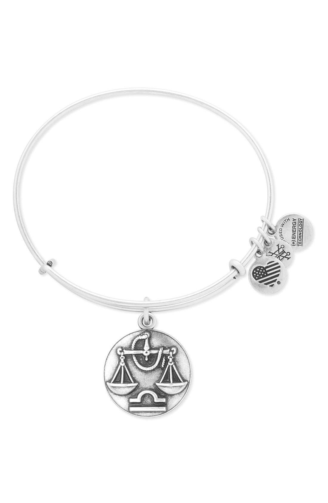 'Zodiac' Expandable Wire Bangle,                         Main,                         color, Silver Libra