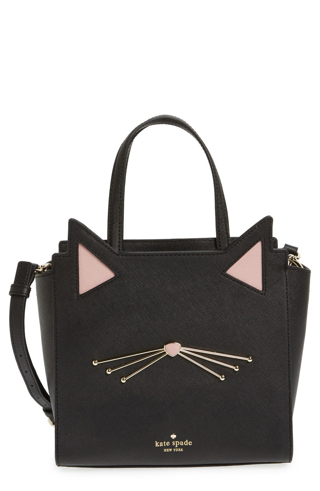 Main Image - kate spade new york 'jazz things up cat - small hayden' saffiano leather satchel