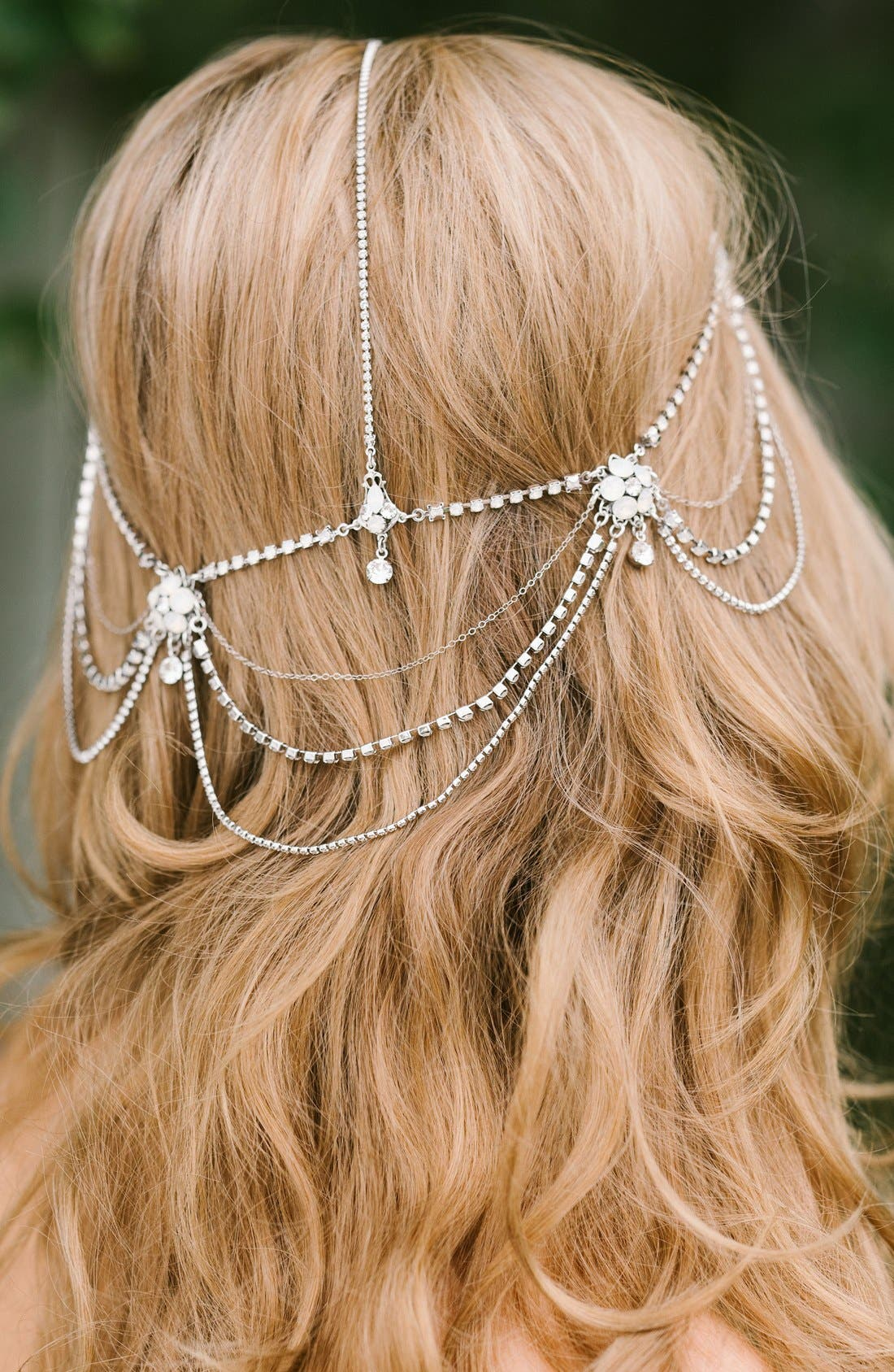 'Madeline' Floral Crystal Hair Chain,                             Alternate thumbnail 2, color,                             Crystal/ White Opal