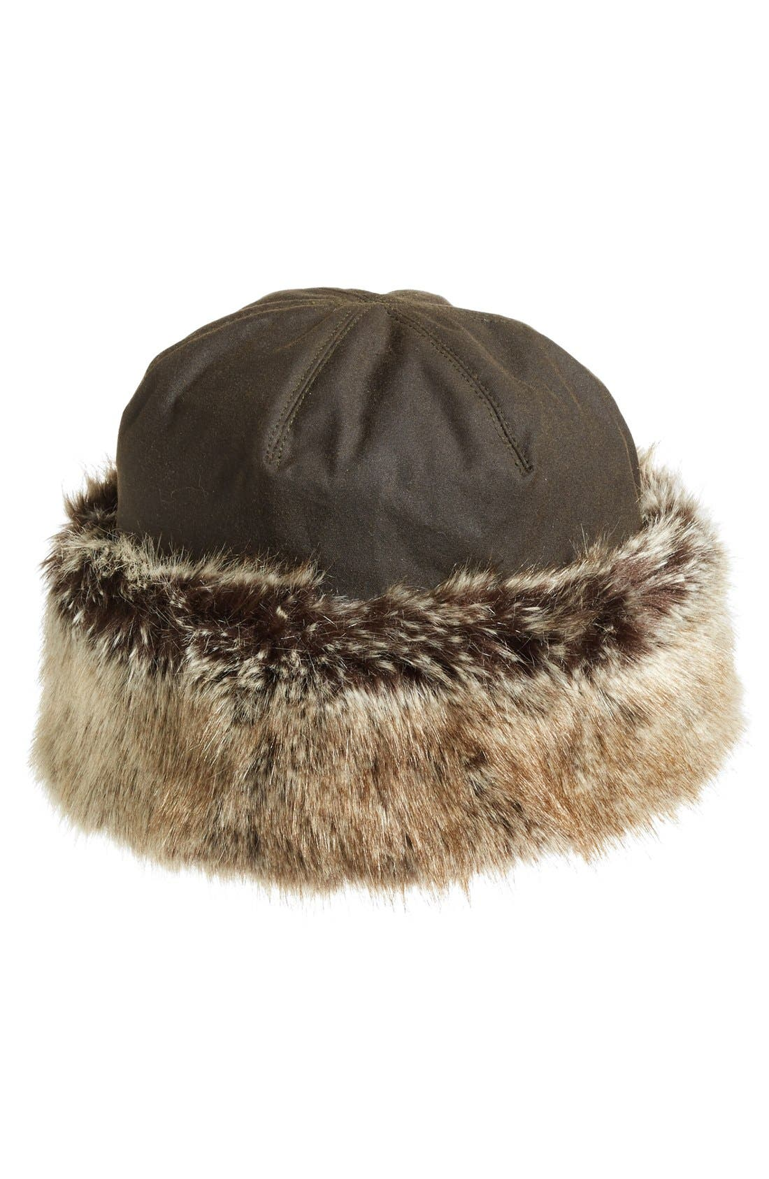 Main Image - Barbour 'Ambush' Waxed Cotton Hat with Faux Fur Trim