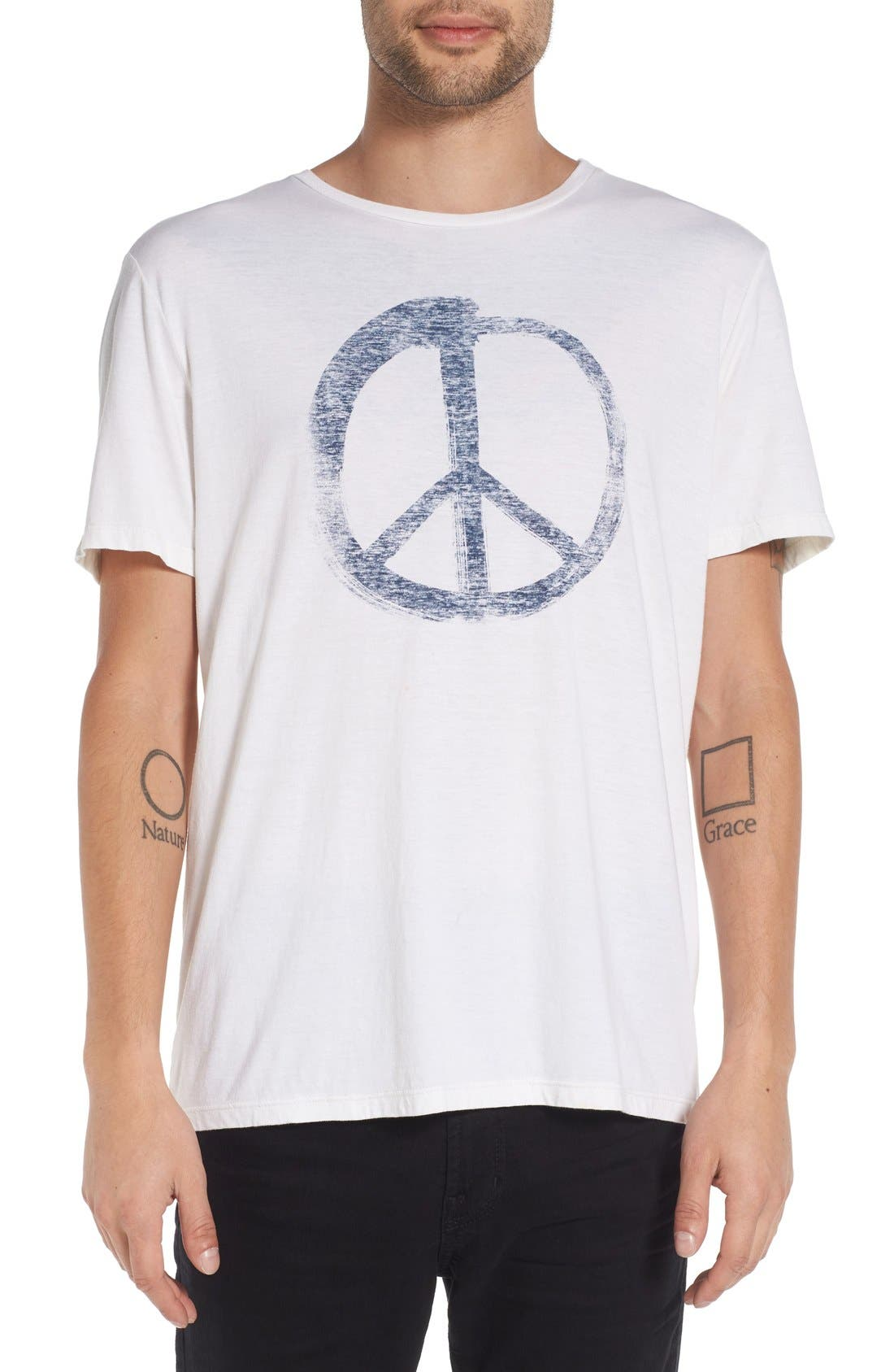 JOHN VARVATOS STAR USA Peace Symbol Graphic Crewneck T-Shirt