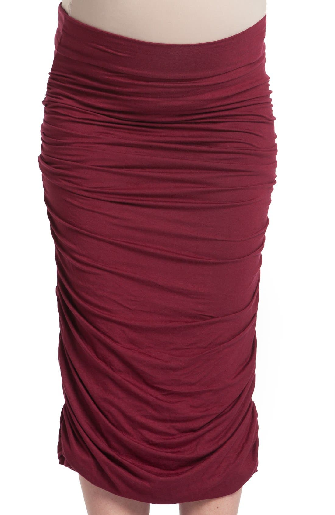 Ruched Maternity Midi Skirt,                         Main,                         color, Ruby