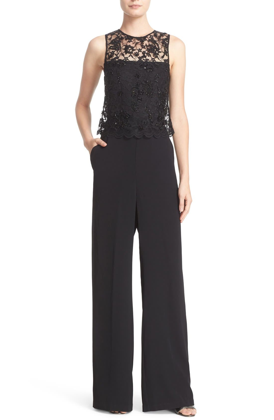 Alternate Image 1 Selected - Parker 'Maddie' Embellished Lace Overlay Jumpsuit