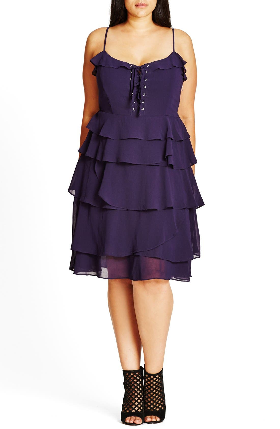 City Chic Lace-Up Ruffle Fit & Flare Dress (Plus Size)