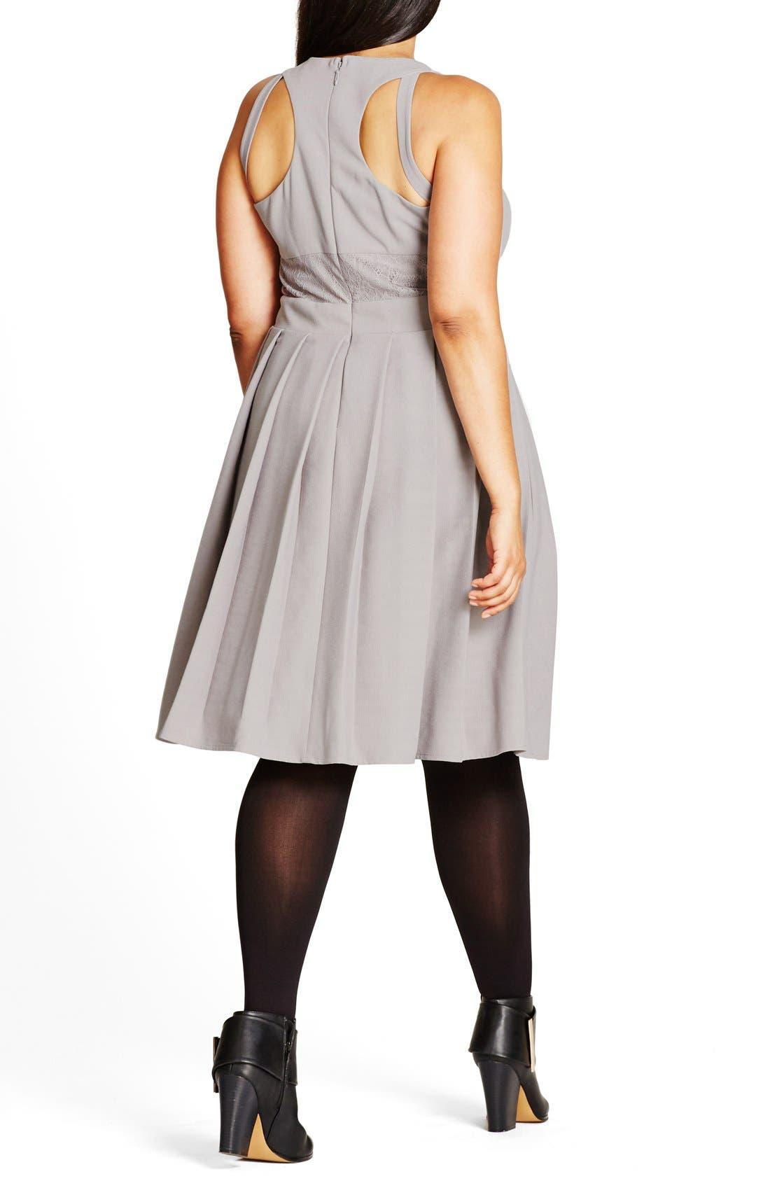'Eyelash Trim' Lace Inset Pleat Fit & Flare Dress,                             Alternate thumbnail 2, color,                             Dove