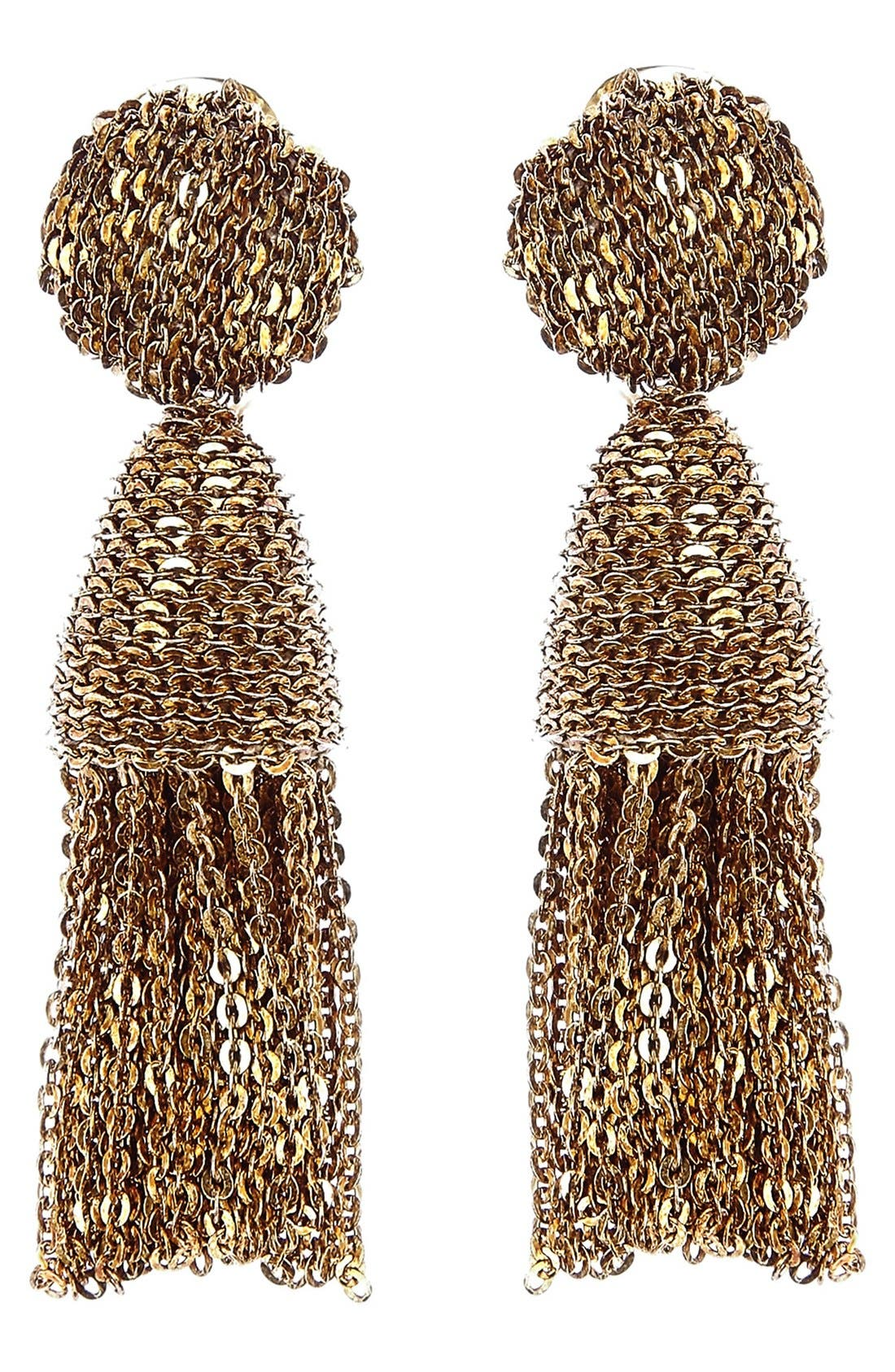 OSCAR DE LA RENTA Classic Short Tassel Chain Drop Earrings