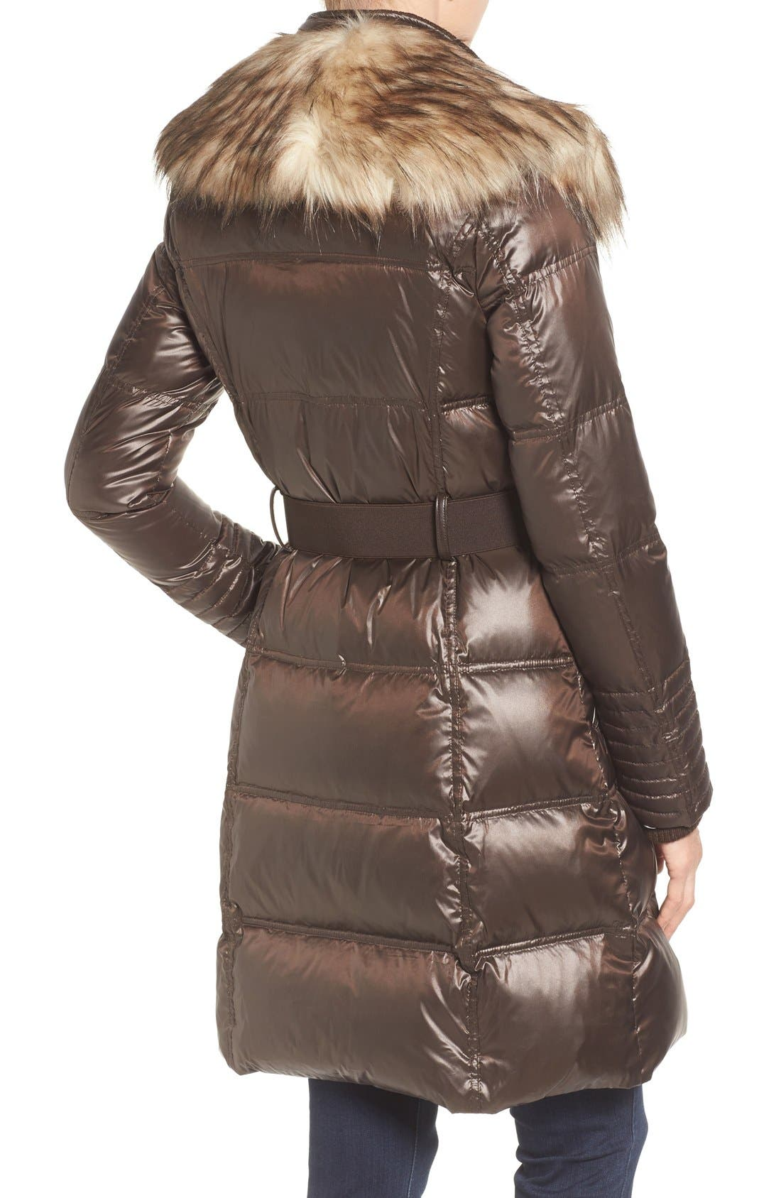 Quilted Coat with Faux Fur Trim,                             Alternate thumbnail 2, color,                             Brown