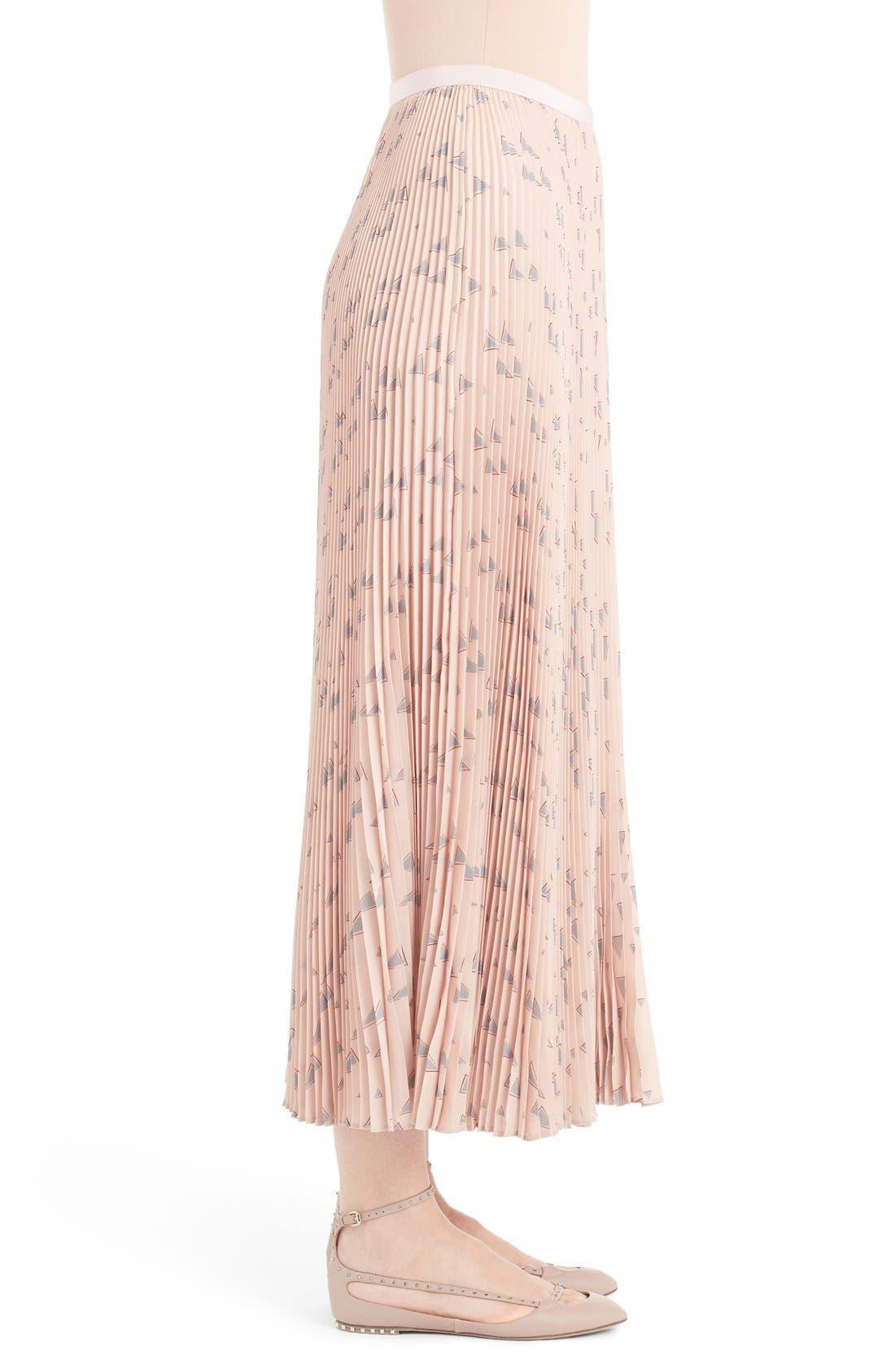 Alternate Image 4  - Valentino 'Cascade Triangle' Print Plissé Maxi Skirt