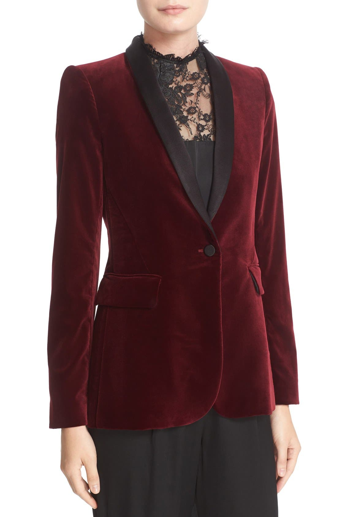 'Macey' Satin Lapel Velvet One-Button Blazer,                             Alternate thumbnail 5, color,                             Bordeaux/ Black