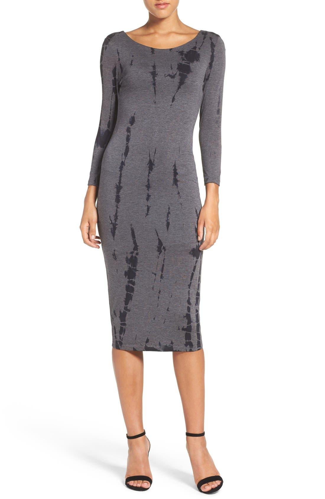 Cutout Back Tie Dye Body-Con Dress,                             Alternate thumbnail 3, color,                             Charcoal Ink