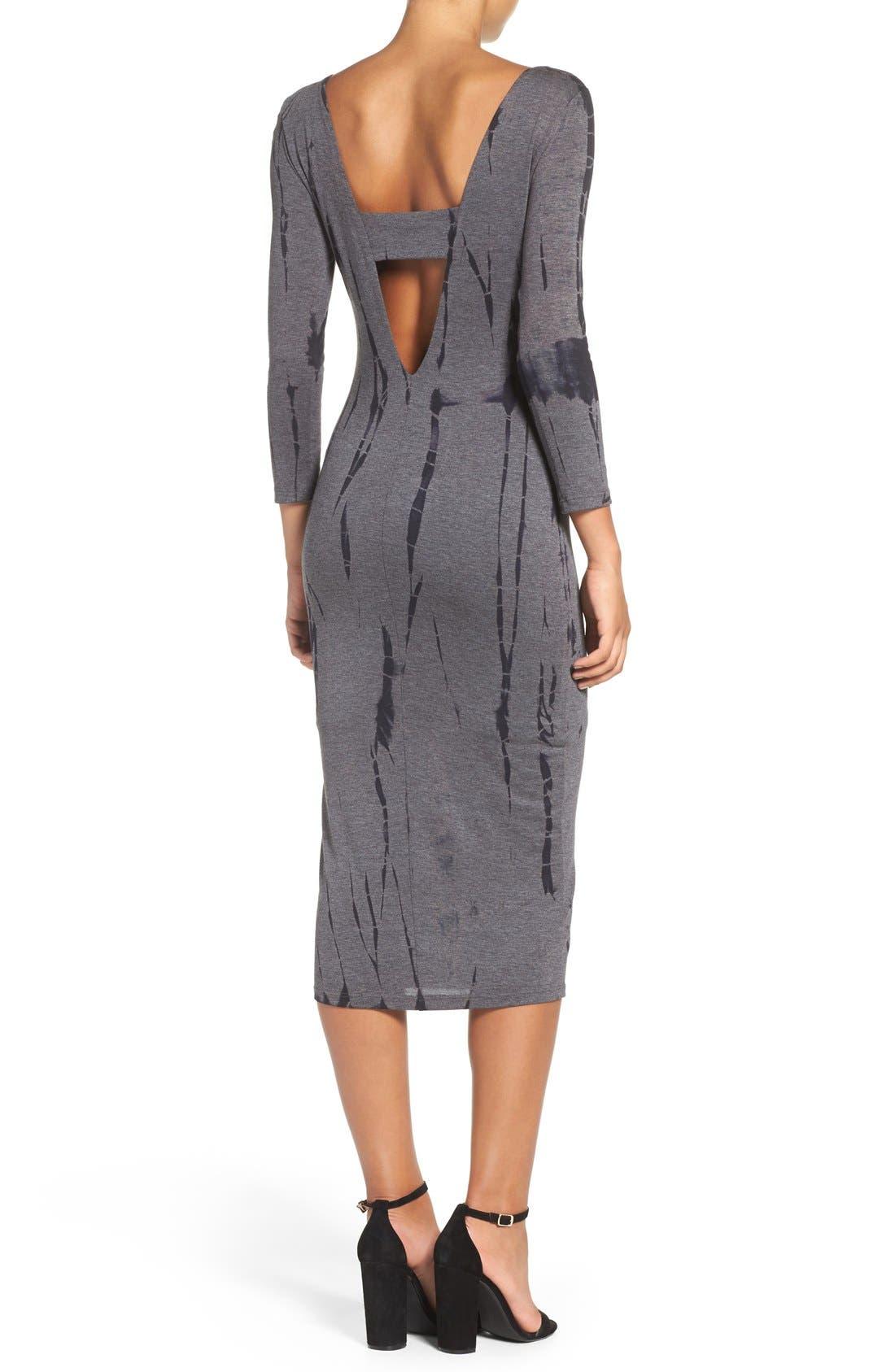 Cutout Back Tie Dye Body-Con Dress,                             Alternate thumbnail 2, color,                             Charcoal Ink