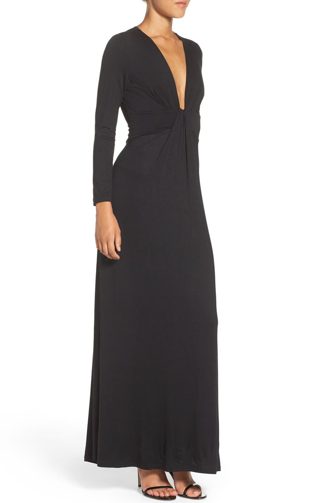 Plunge Neck Jersey Gown,                             Alternate thumbnail 3, color,                             Black