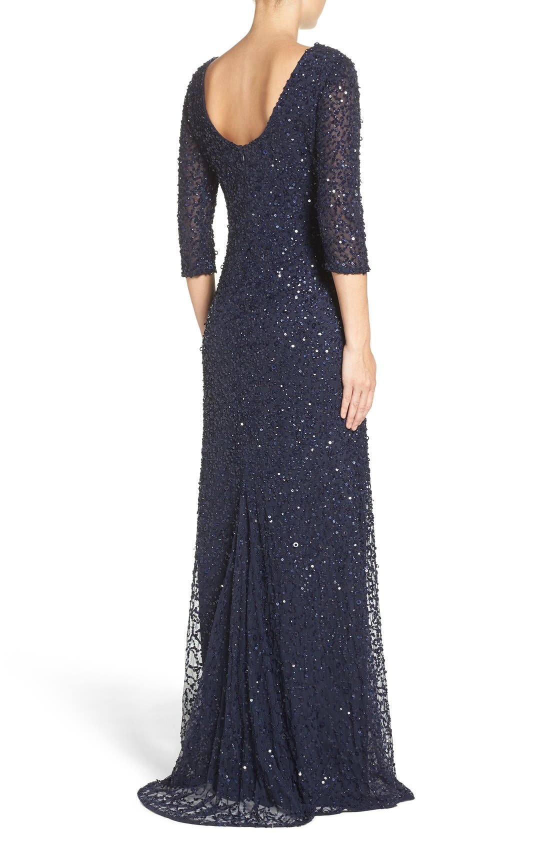 Sequin Mesh Gown,                             Alternate thumbnail 2, color,                             Navy