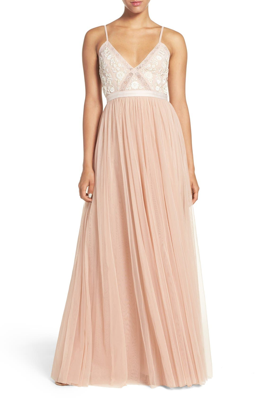Main Image - Needle & Thread Embroidered Bodice Tulle Gown