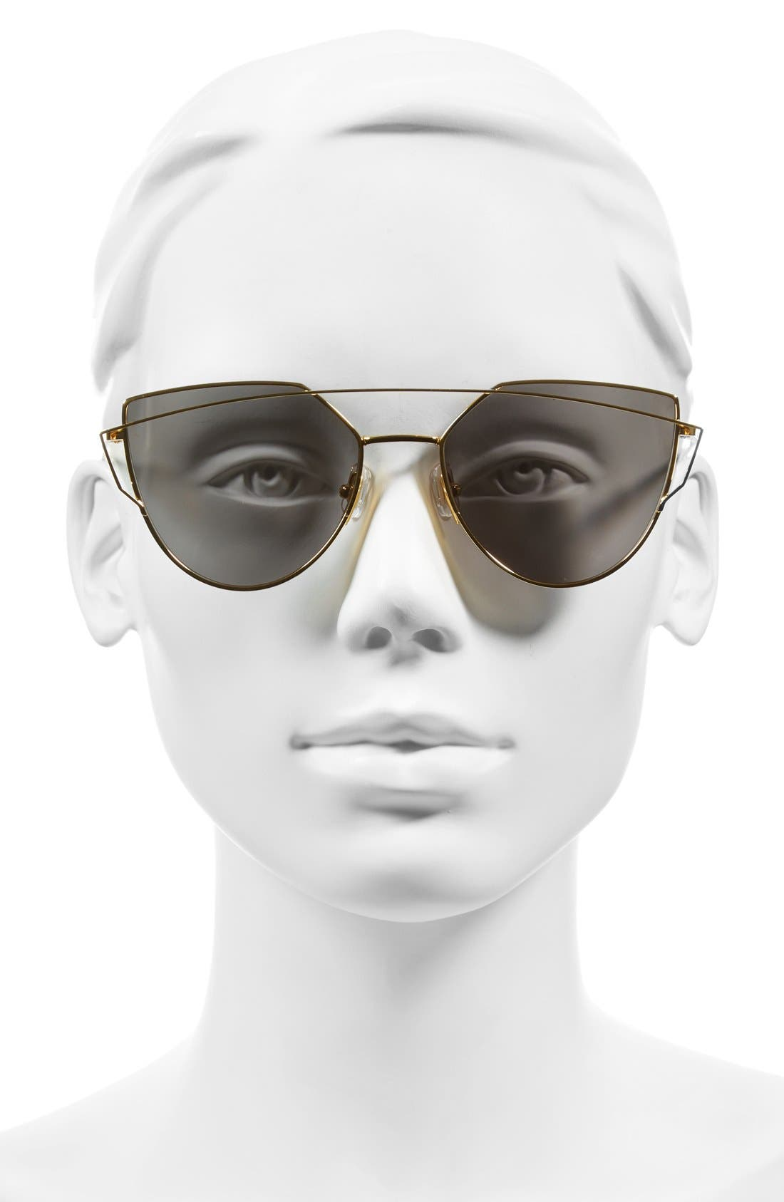 'Love Punch' 55mm Titanium Aviator Sunglasses,                             Alternate thumbnail 2, color,                             Gold