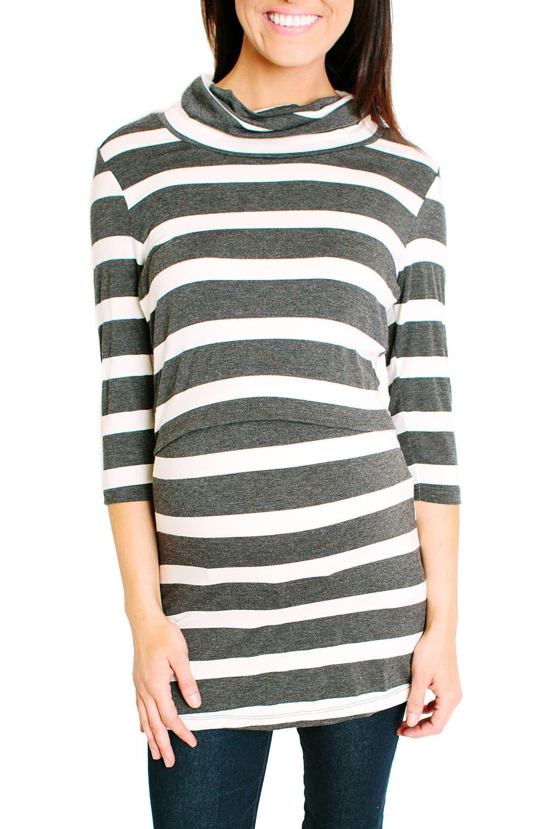 NOM Shelley Maternity/Nursing Turtleneck Tunic,                         Main,                         color, Charcoal Wide Stripe