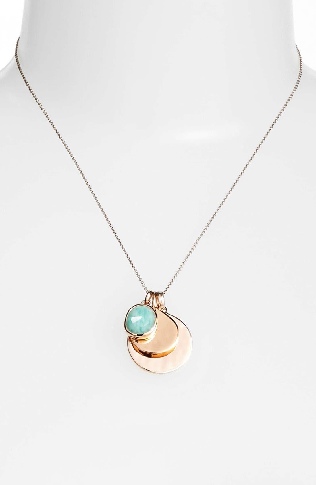 'Siren' Semiprecious Stone Charm Pendant Necklace,                             Alternate thumbnail 2, color,                             Amazonite/ Rose Gold