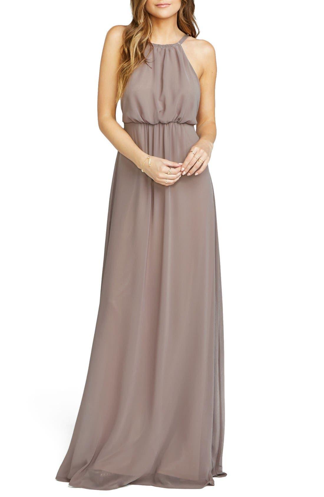 Amanda Open Back Blouson Gown,                         Main,                         color, Dune