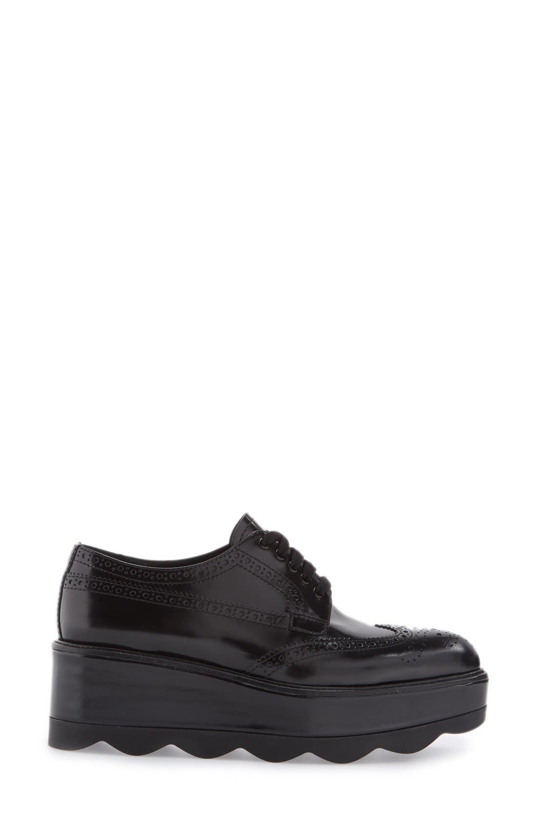 Scalloped Platform Oxford,                             Alternate thumbnail 4, color,                             Black