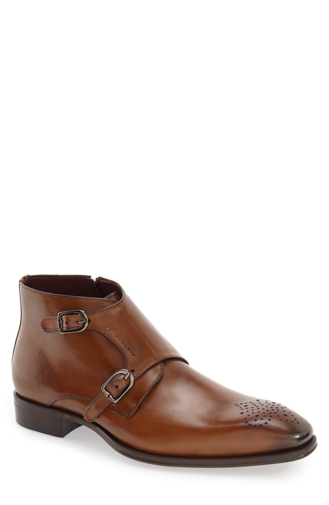'Rocca' Midi Double Monk Strap Boot,                             Main thumbnail 1, color,                             Cognac