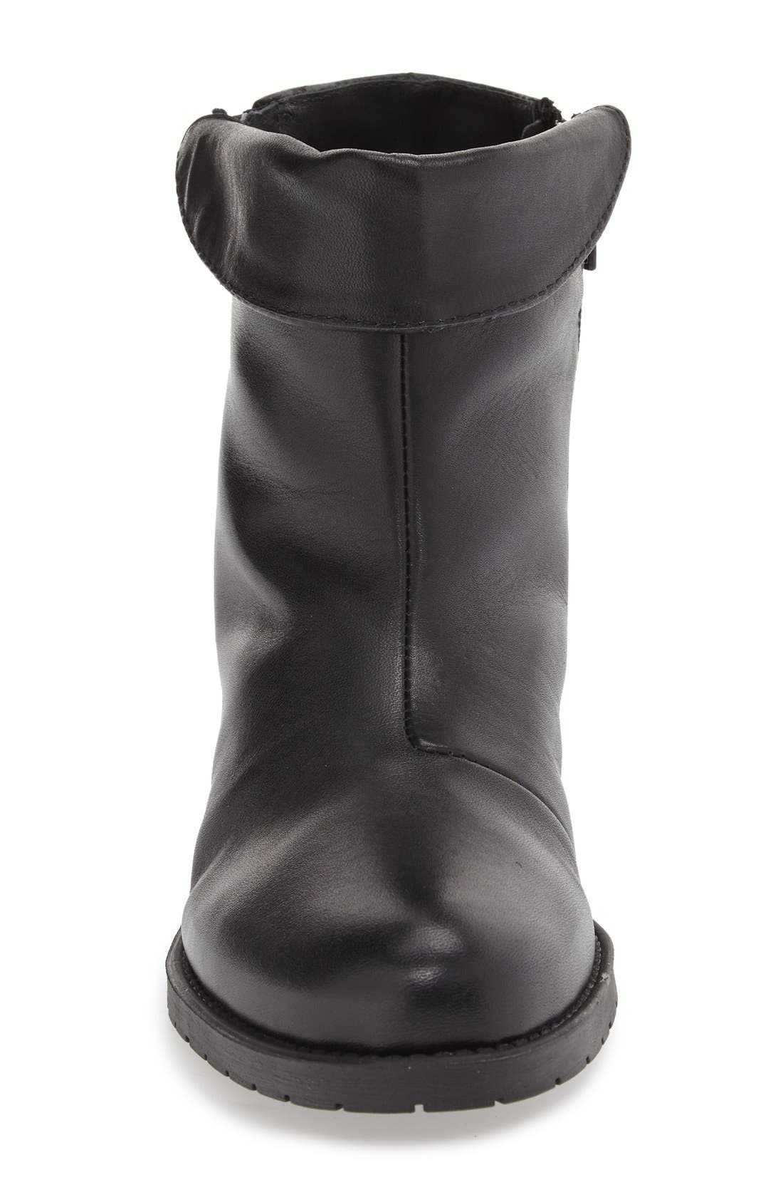 'Borano' Slouchy Waterproof Bootie,                             Alternate thumbnail 3, color,                             Black Crinkle Patent Leather