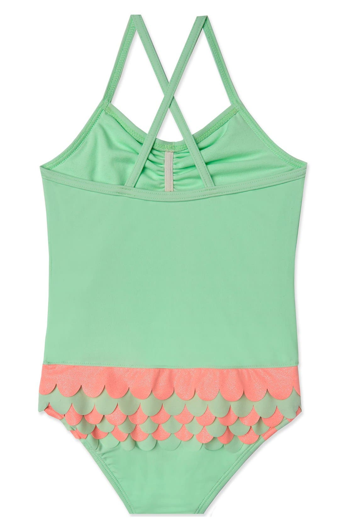 'Mermaid Scallops' One-Piece Swimsuit,                             Alternate thumbnail 2, color,                             Mint Pink