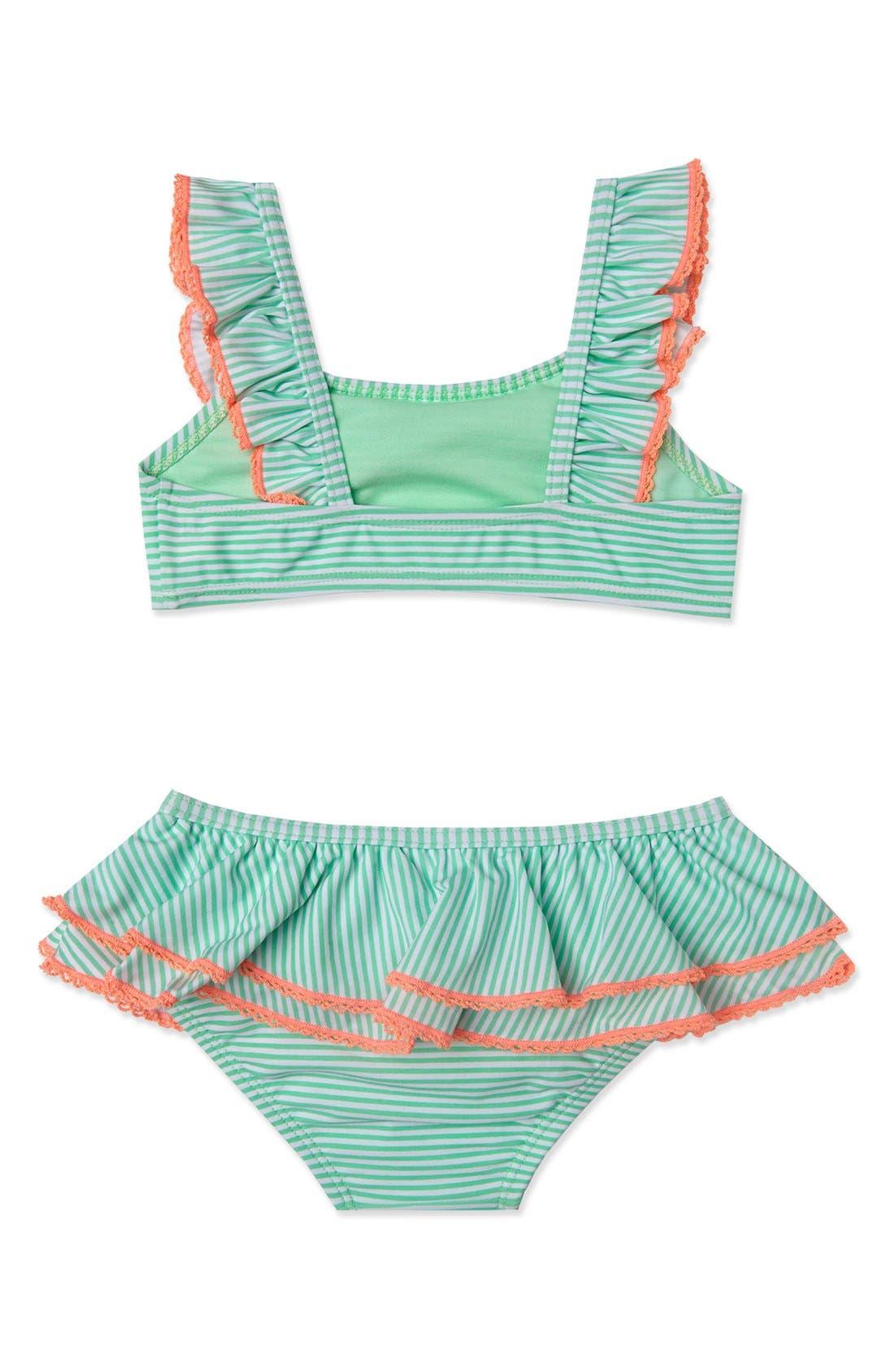 'Sailor Stripe' Two-Piece Swimsuit,                             Alternate thumbnail 2, color,                             Mint