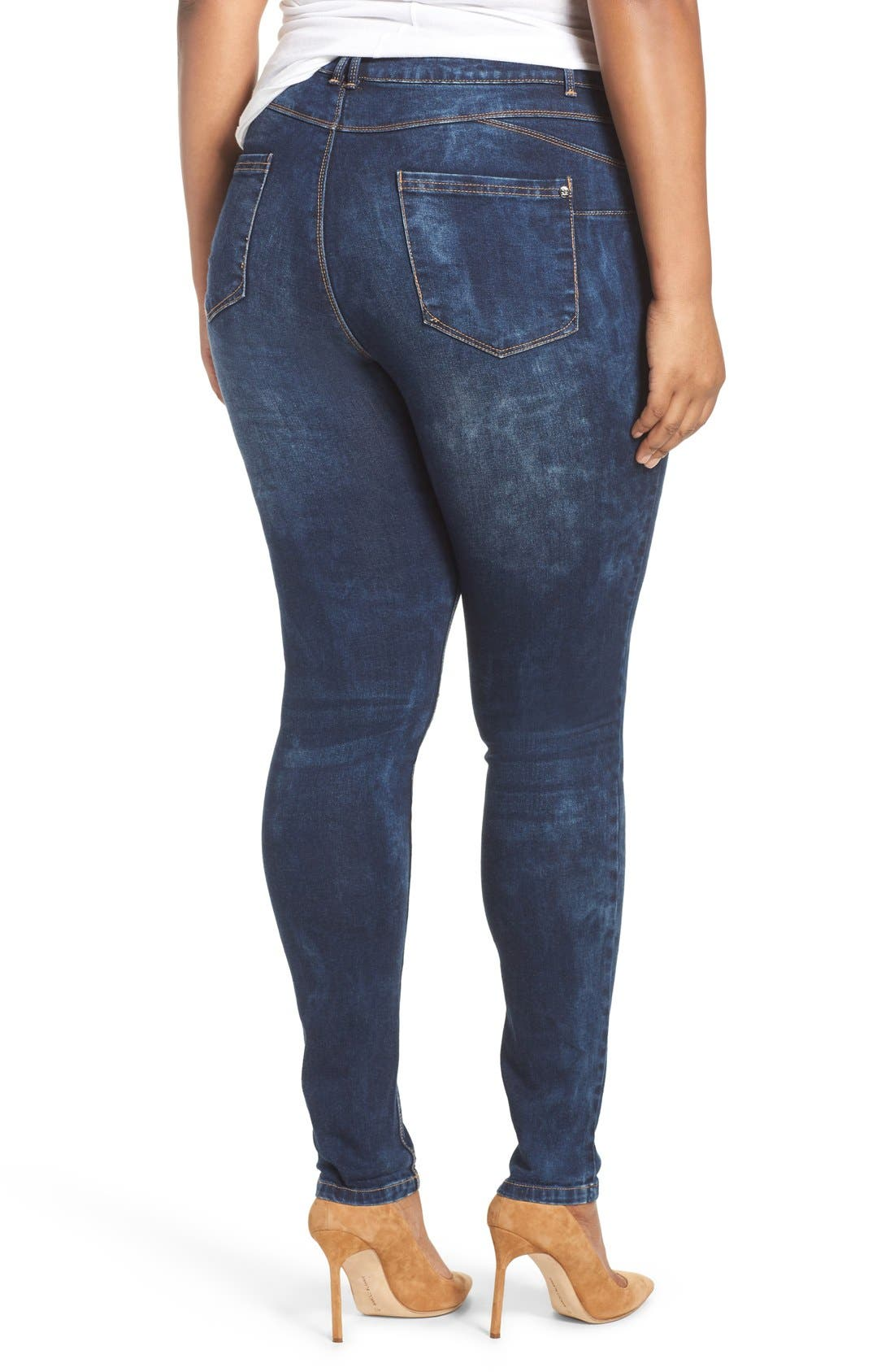 Alternate Image 3  - City Chic 'Dismantle' Ripped Stretch Skinny Jeans (Plus Size)