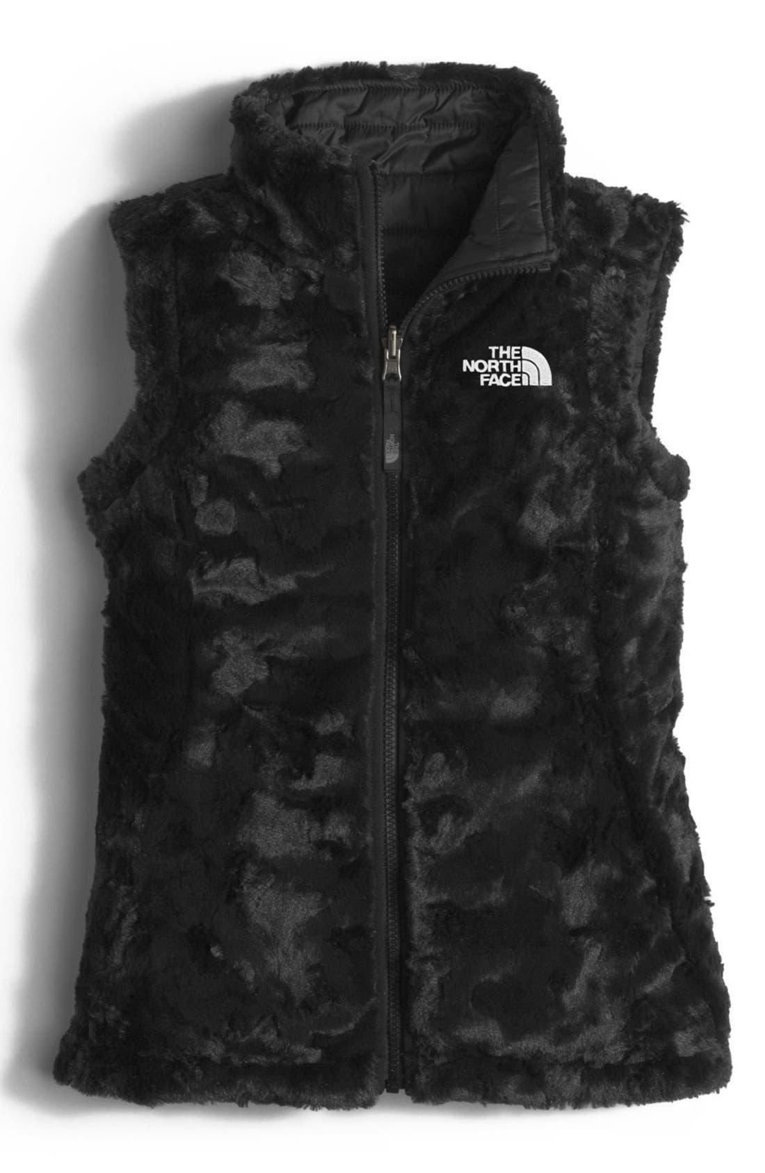 'Mossbud Swirl' Reversible Water Repellent Vest,                             Alternate thumbnail 2, color,                             Tnf Black