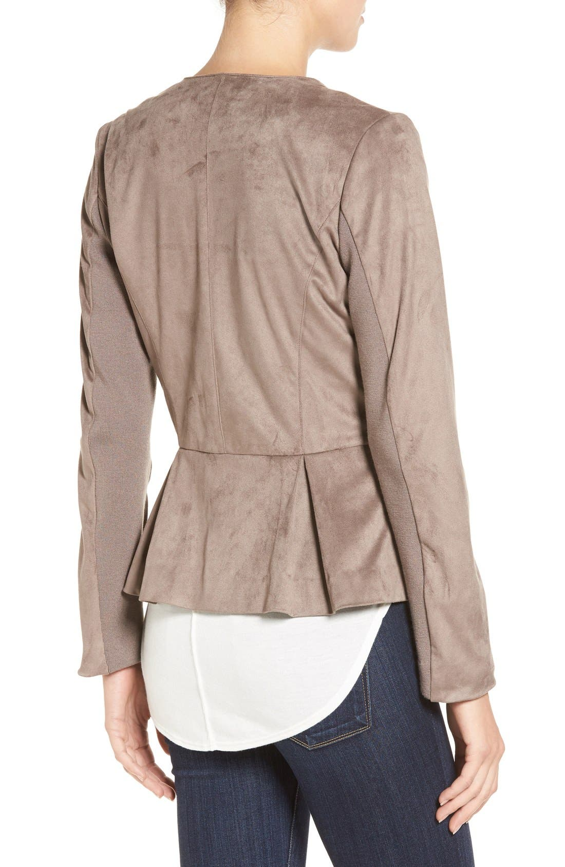 Lace-Up Peplum Faux Suede Jacket,                             Alternate thumbnail 2, color,                             Buff