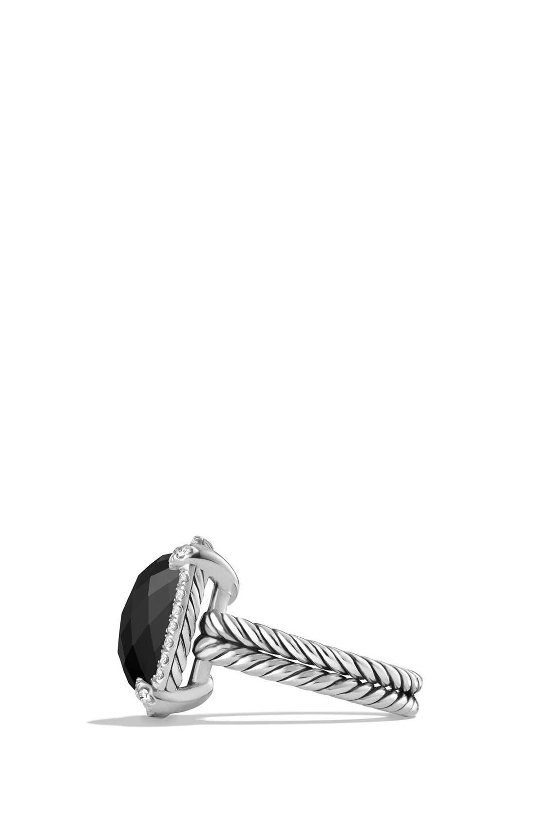 'Châtelaine' Large Pavé Bezel Ring with Diamonds,                             Alternate thumbnail 3, color,                             Black Onyx