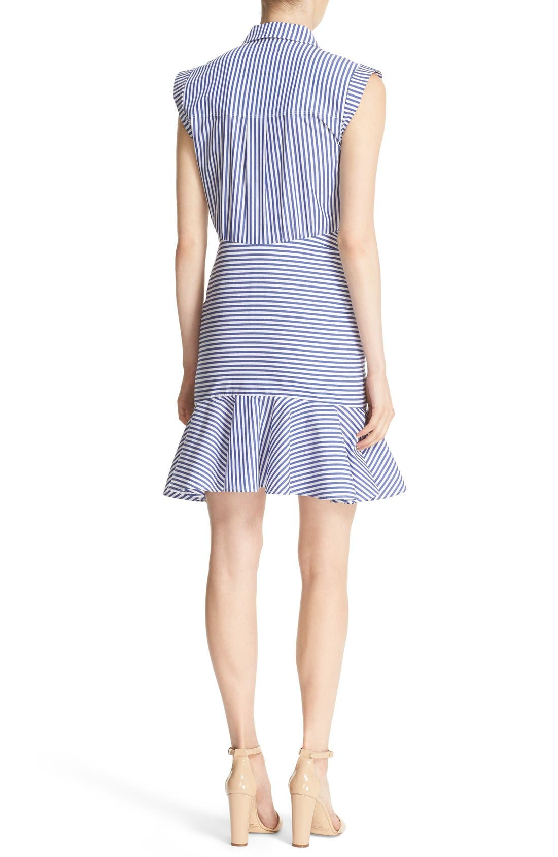 Bell Stripe Ruched Shirtdress,                             Alternate thumbnail 2, color,                             Blue/ White