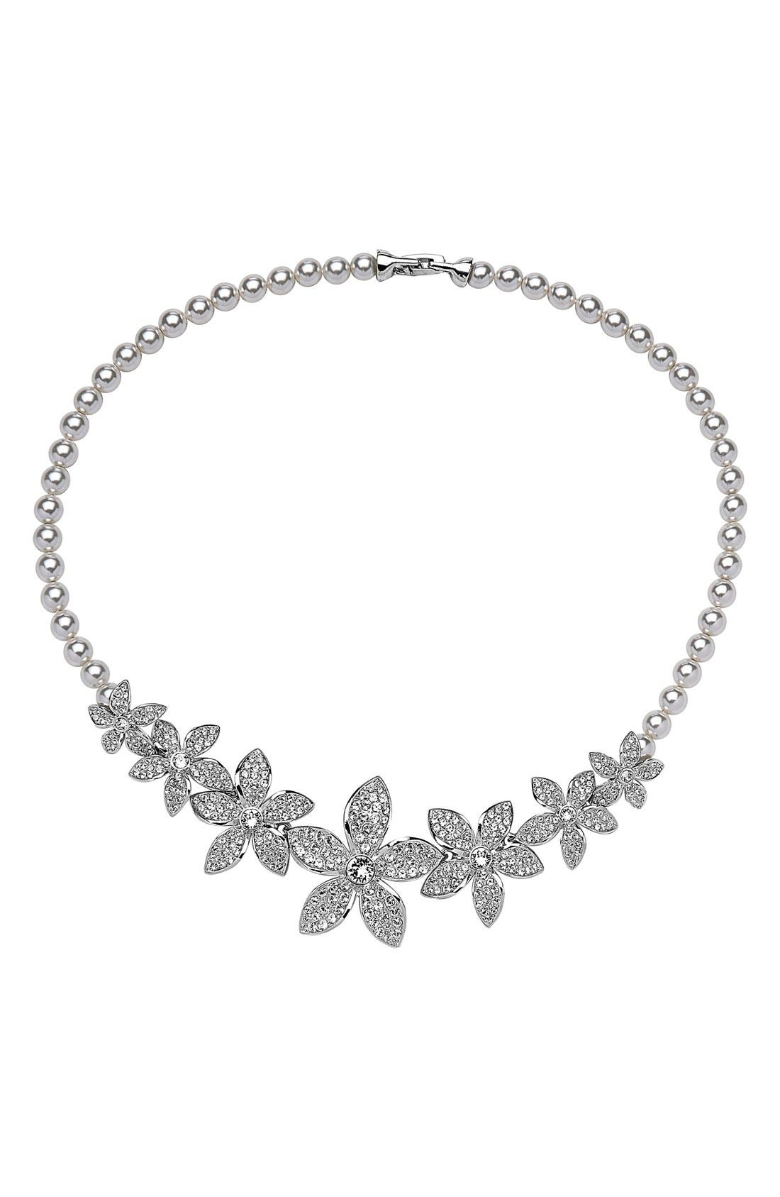 Crystal & Faux Pearl Frontal Necklace,                         Main,                         color, Silver