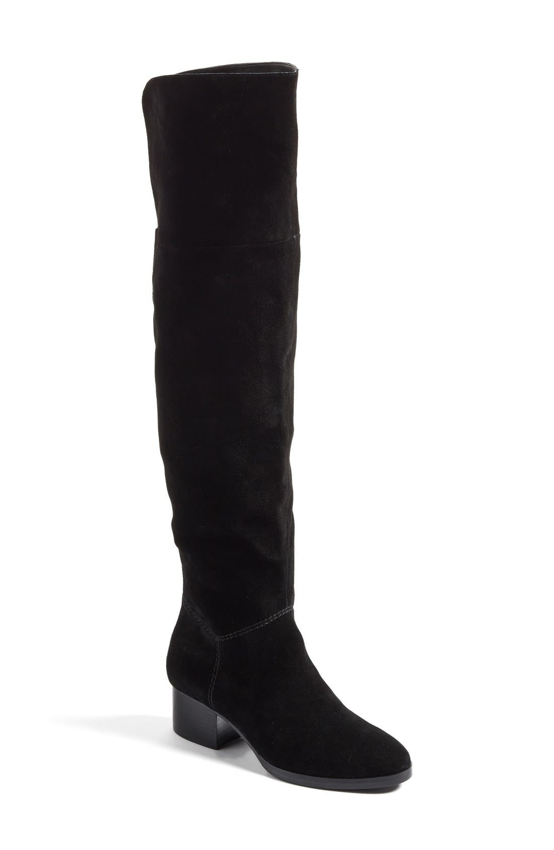 Tessie Tall Boot,                         Main,                         color, Black / Black Suede