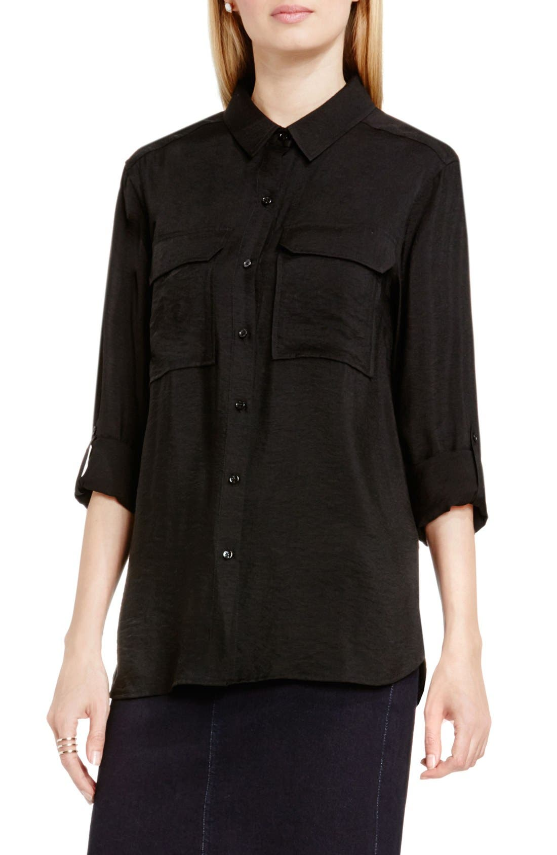 Hammered Satin Utility Shirt,                         Main,                         color, Rich Black