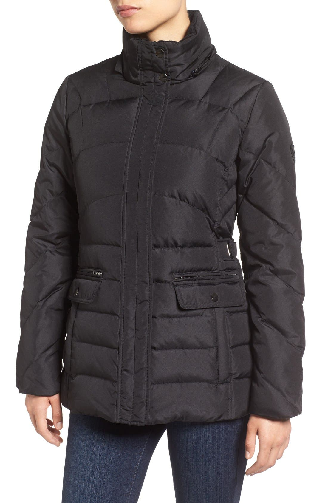 Alternate Image 4  - Larry Levine Water Repellent Quilted Jacket with Faux Fur Trim