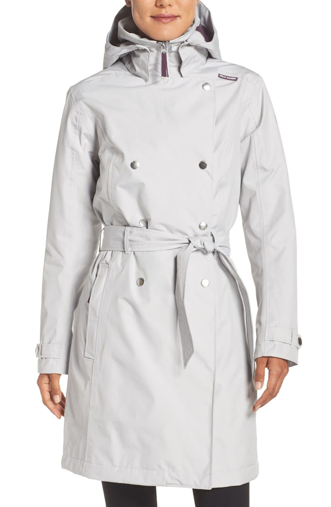 'Welsey' Insulated Waterproof Trench Coat,                         Main,                         color, Light Grey