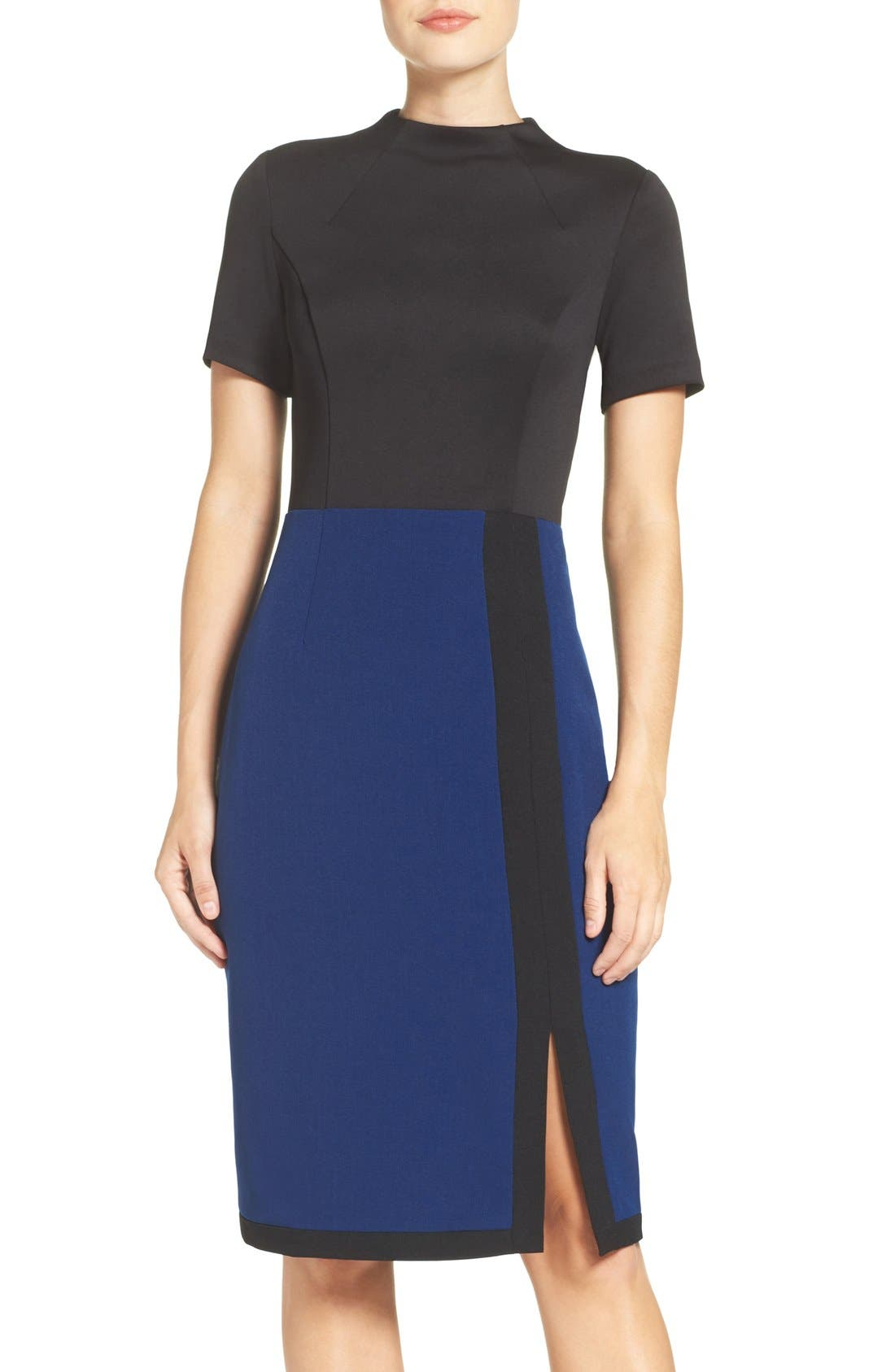 Scuba & Crepe Sheath Dress,                             Main thumbnail 1, color,                             Black/ Navy
