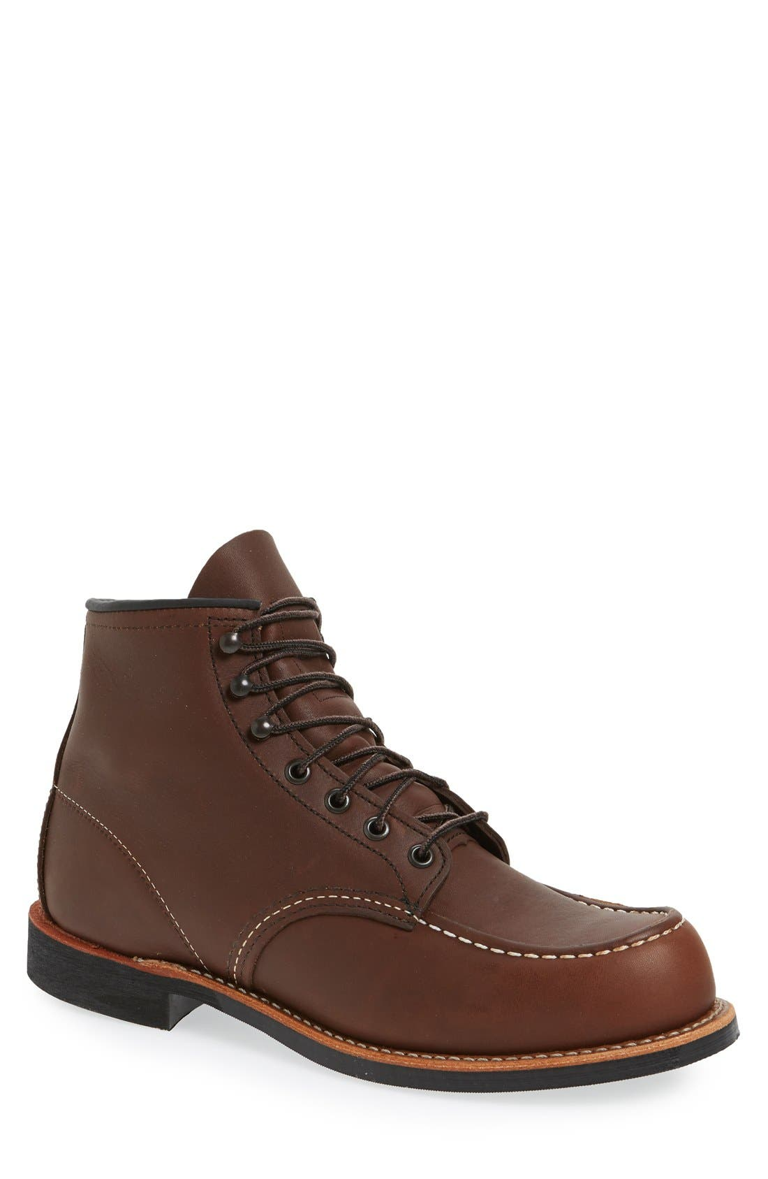 'Cooper' Moc Toe Boot,                         Main,                         color, Amber Leather
