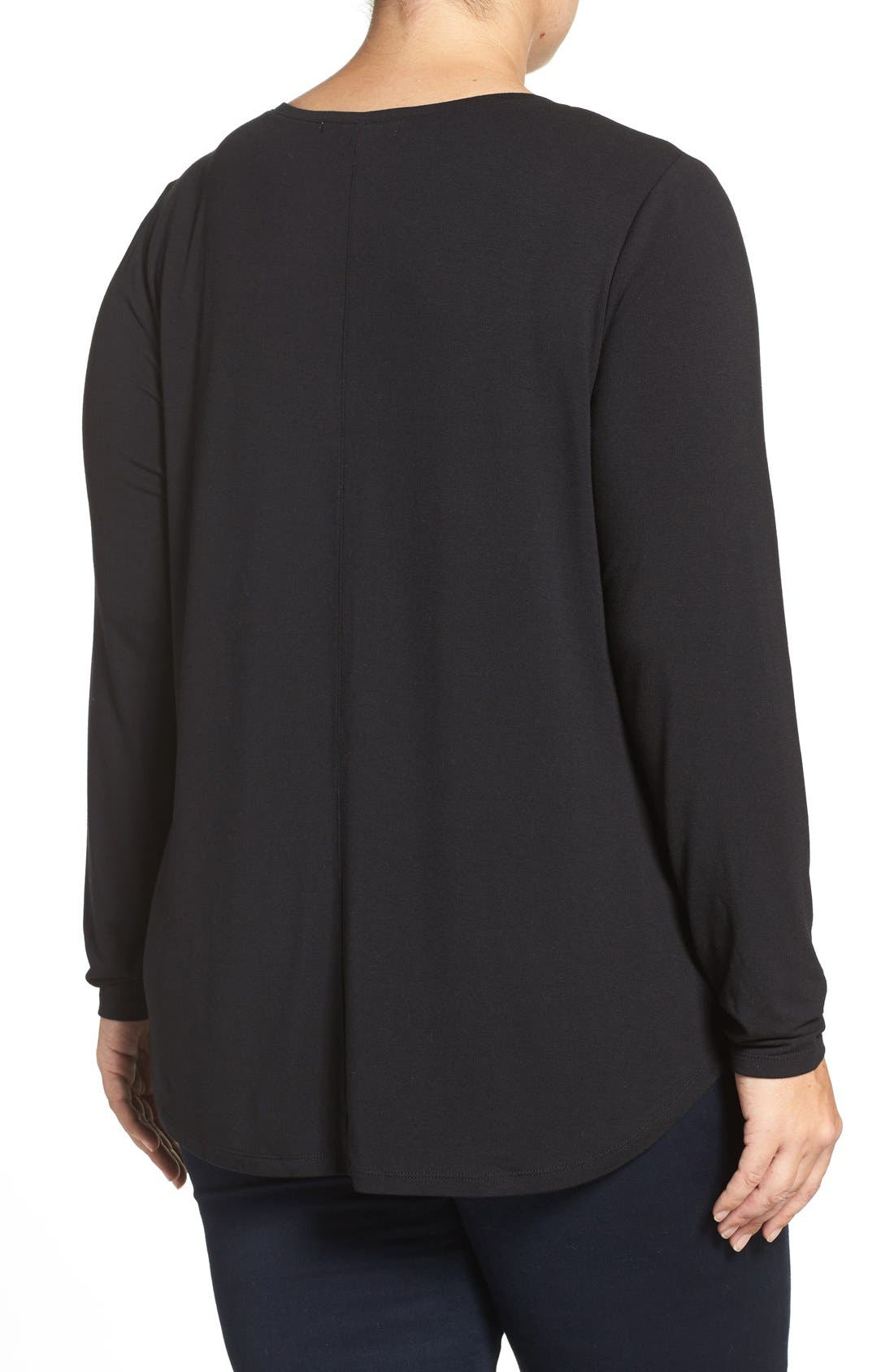 Alternate Image 2  - Sejour Sweetheart Neck Long Sleeve Tee (Plus Size)