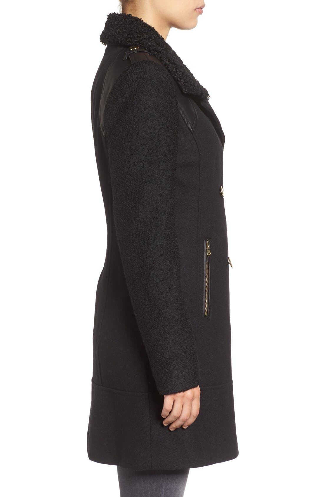 Bouclé Sleeve Wool Blend Military Coat,                             Alternate thumbnail 3, color,                             Black