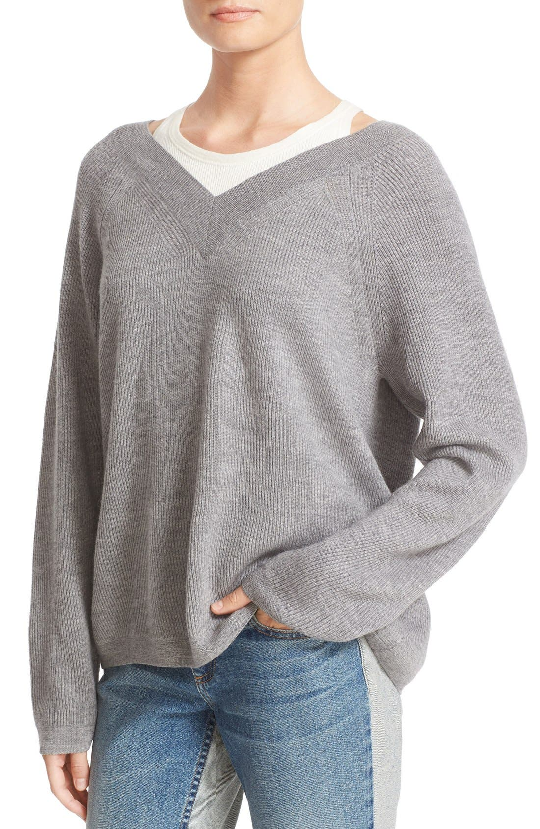 Alternate Image 4  - T by Alexander Wang Layered Merino Wool Pullover