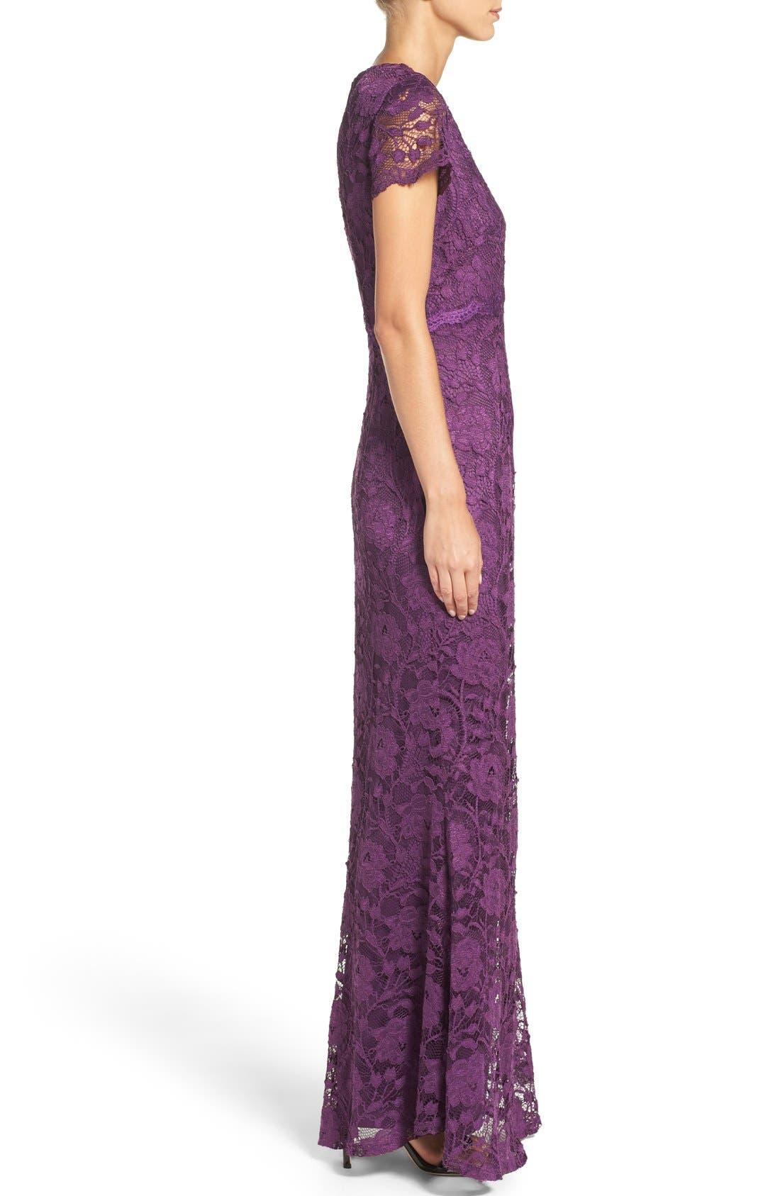 Lace Gown,                             Alternate thumbnail 3, color,                             Plum