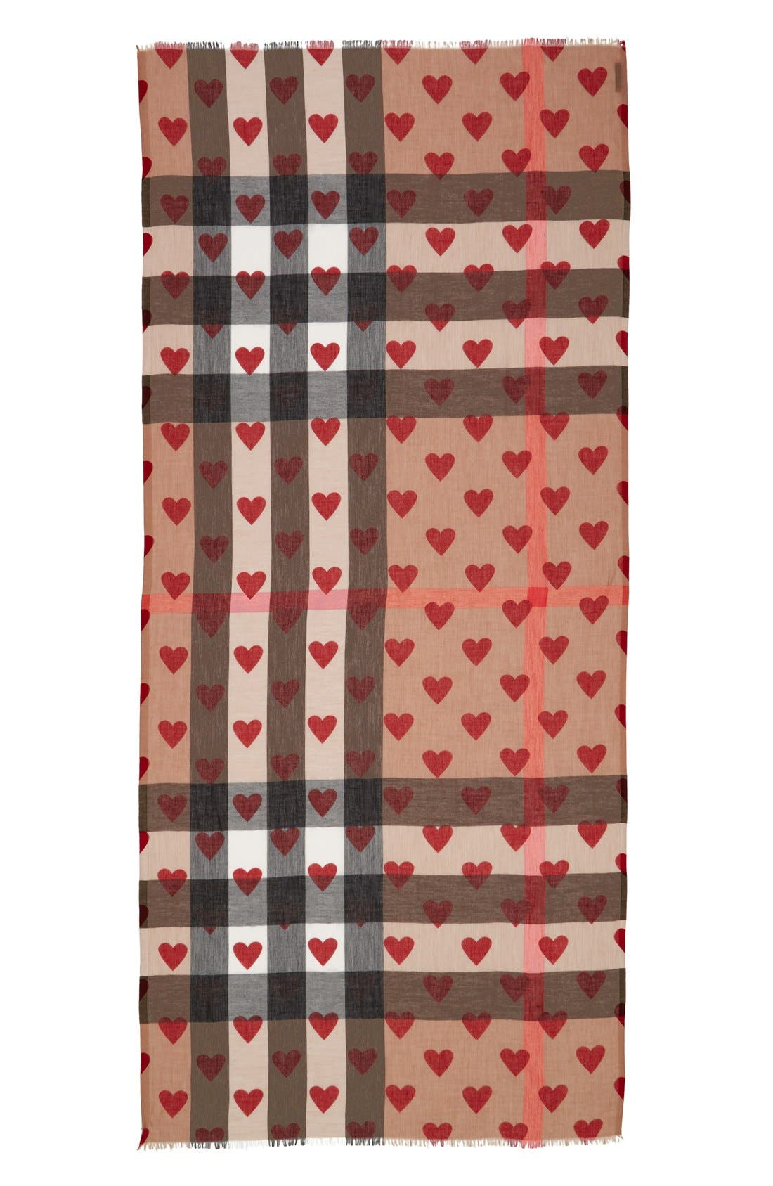 Alternate Image 2  - Burberry Check & Heart Pattern Scarf